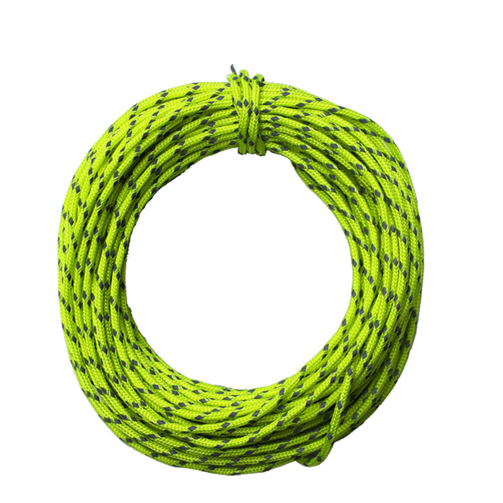 Wholesale 2.5mm/15m Outdoor Camping Reflective Tent Wind Rope Core Fluorescent Green