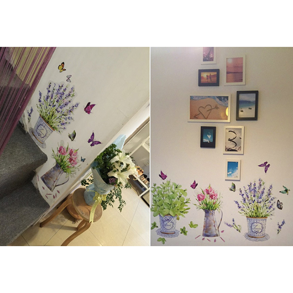 Wholesale Waterproof Flower Pot Butterfly Wall Art Sticker Paper Decals Home Decor