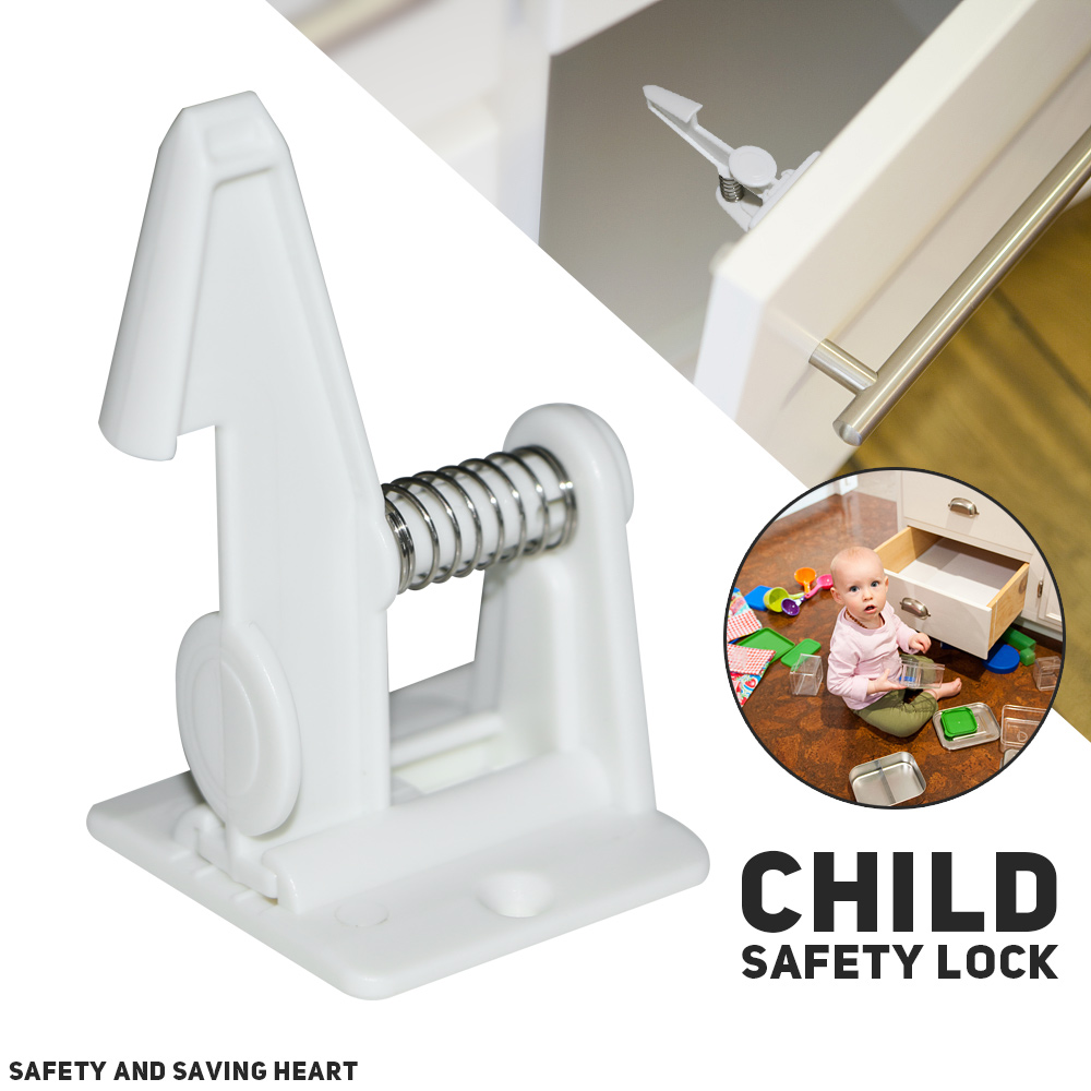 10pcs Spring Safety Invisible Cupboard Lock Baby Child Pet Proof Drawer Security 4