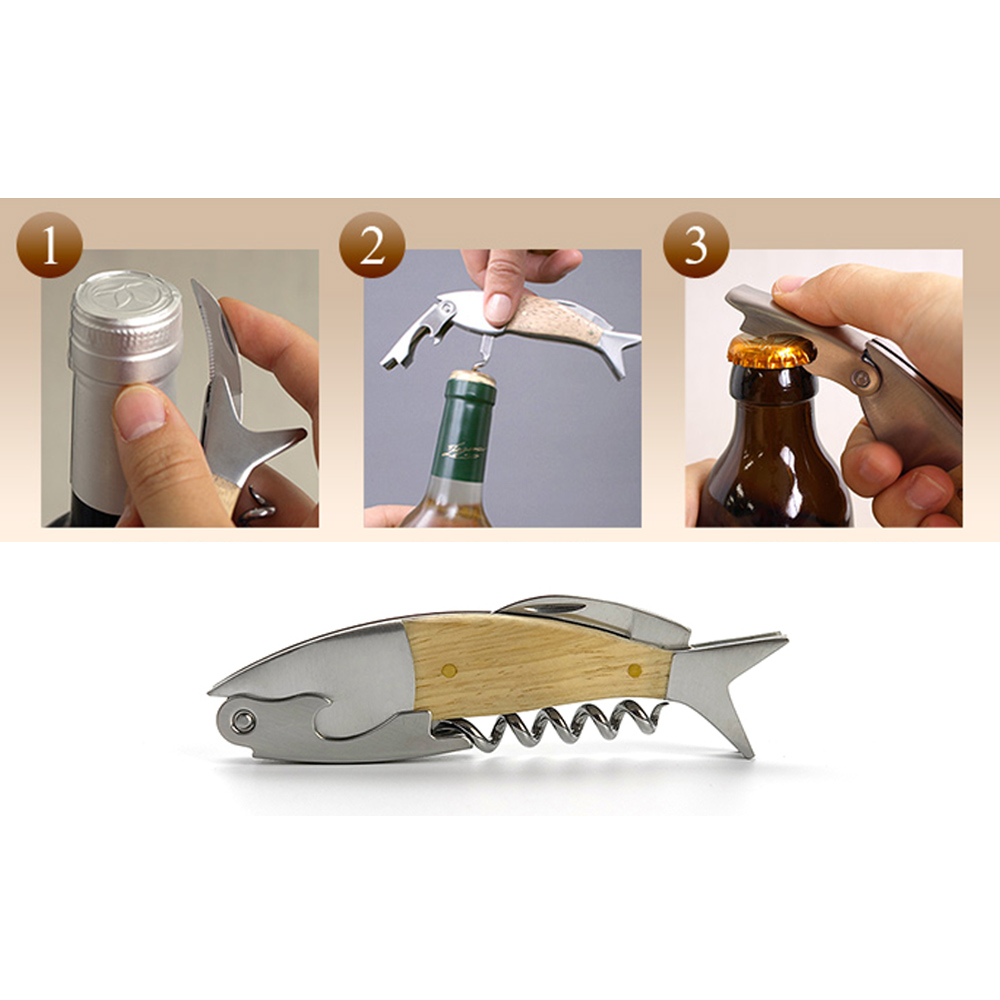 Multifunction Corkscrew Fish Shape Wine Beer Bottle Opener W/Wood Handle