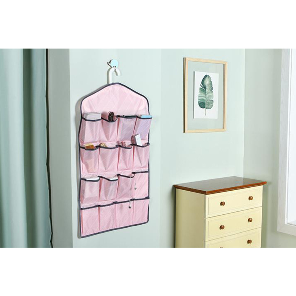 Fashion Stripe 16Pocket Hanging Bra Lingerie Sock Storage Bag Organizer