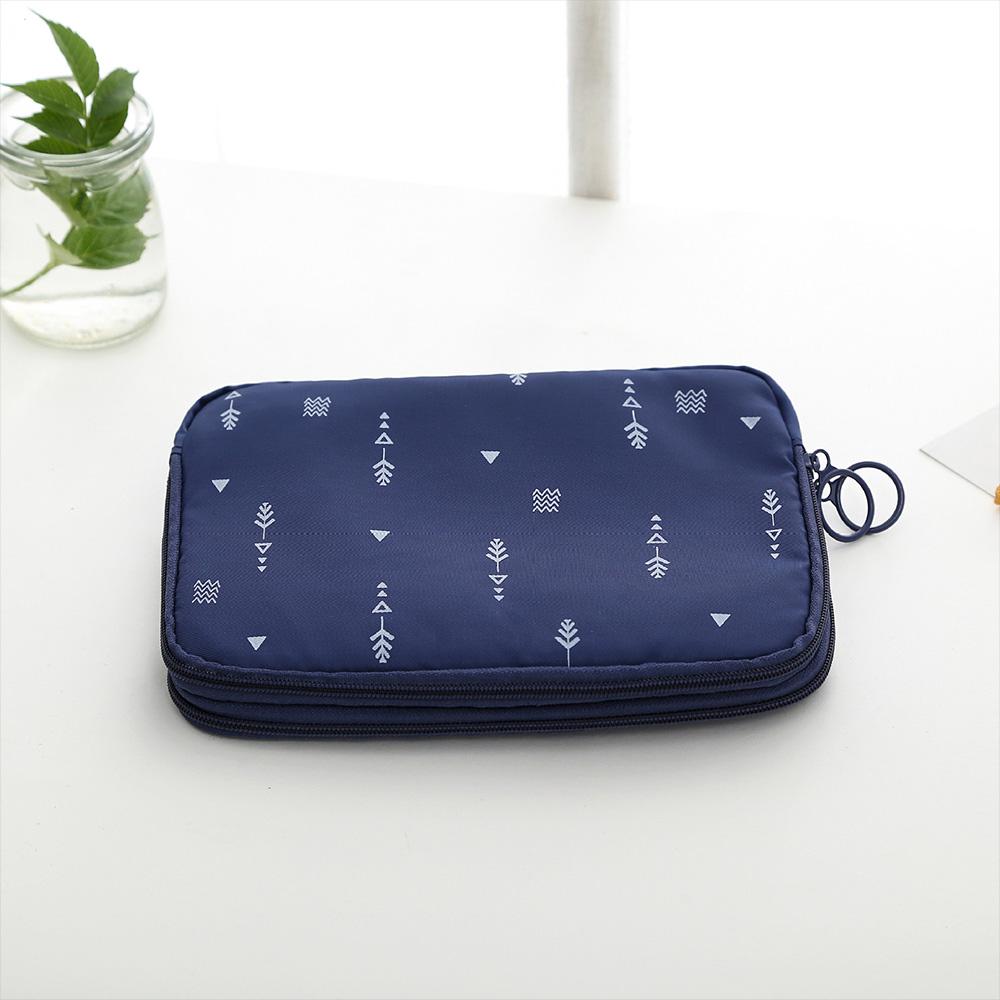 Wholesale Navy Blue Dual Layer Waterproof Travel Passport ID Card Zipper Wallet
