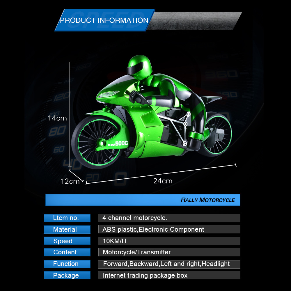 Wholesale CSRC-22 2.4GHz High Spped Drift RC Remote Control Motorbike Toy Gift Green