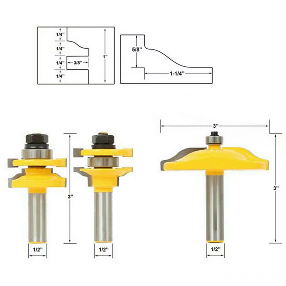 3pc/set 1/2inch Shank Raised Panel Cabinet Door Router Bit Woodwork Cutter