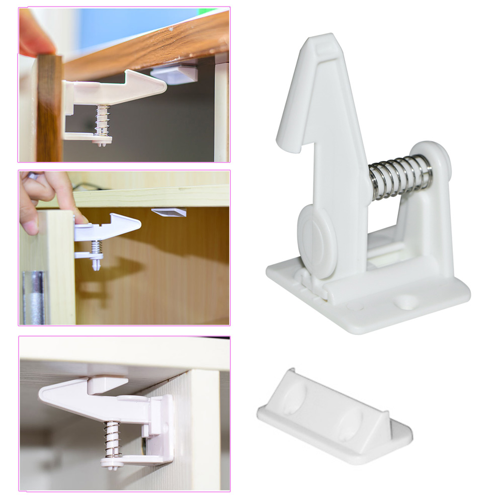 10pcs Spring Safety Invisible Cupboard Lock Baby Child Pet Proof Drawer Security