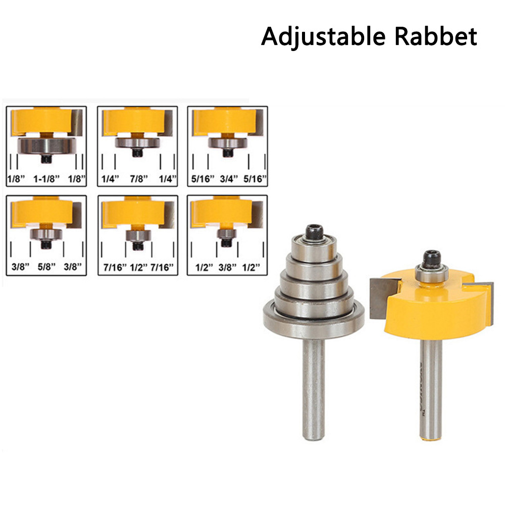 Adjustable Teflon Rabbet Router Bit Woodwork Trimmer Cutter W/6pc Bearing