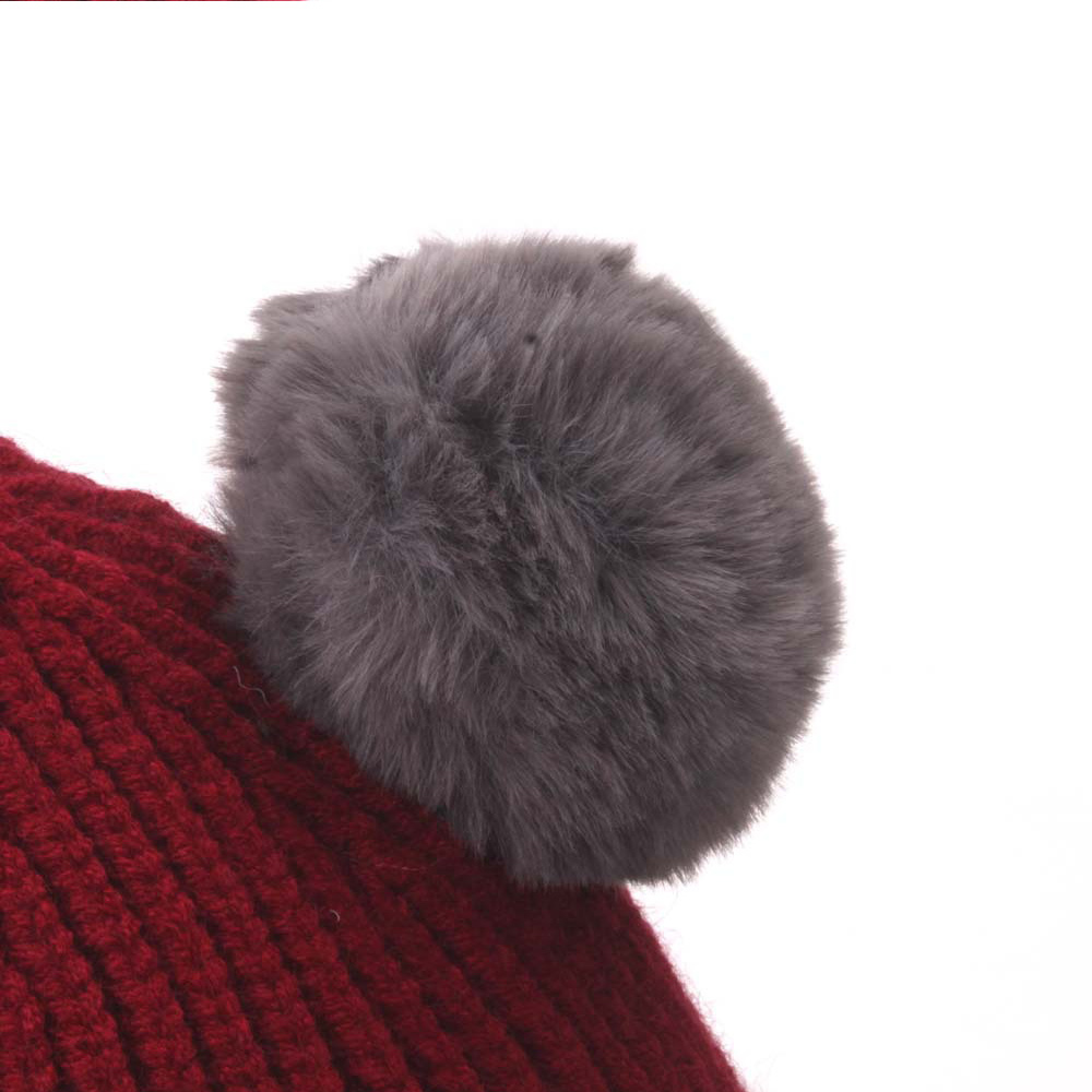 Baby Toddler Newborn Wool Knit Hat Winter Warm Dual Hairball Beanie Cap