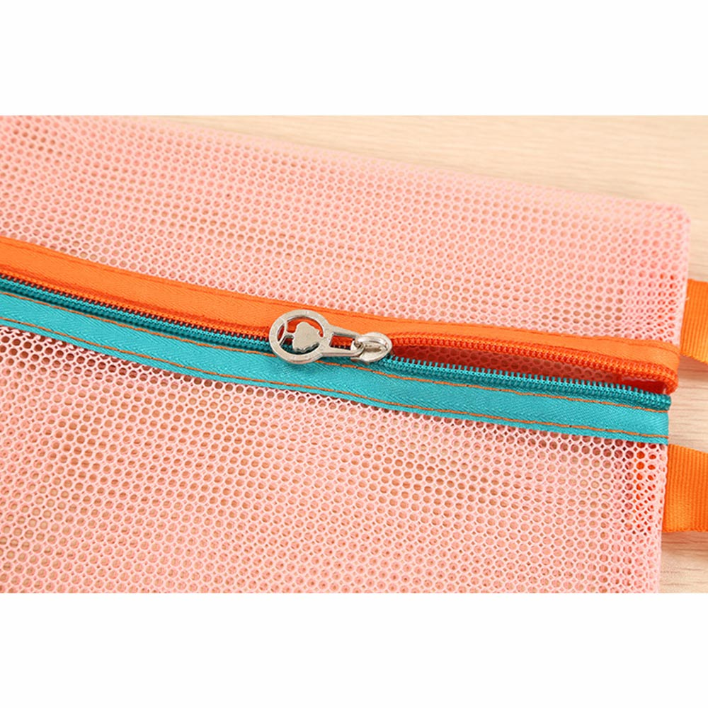 Wholesale 4pc/set Portable Mesh Travel Storage Bag Case Cosmetic MakeupOrganizer Pink