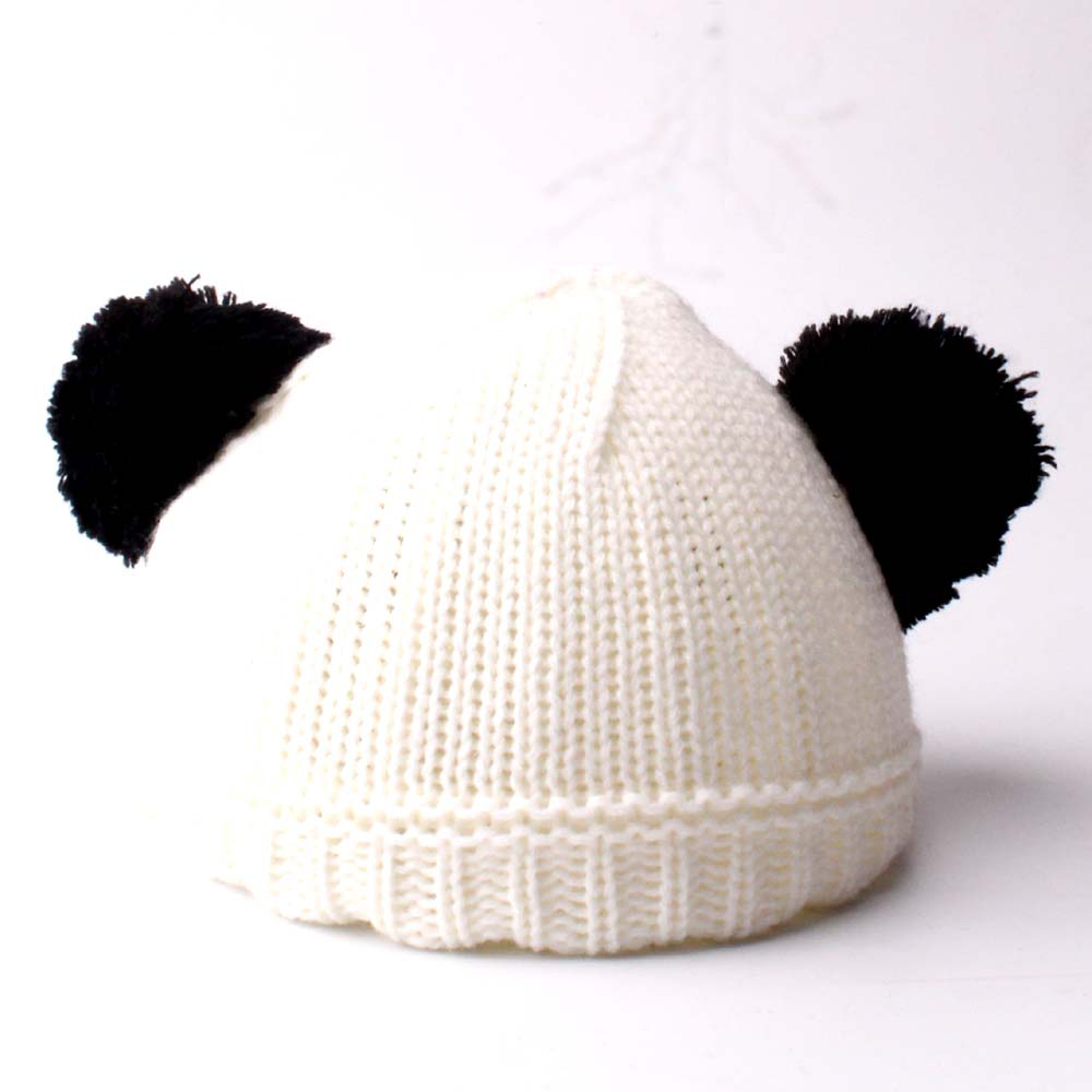 Baby Kids Children Wool Knit Hat Autumn Winter Warm Panda Dual Hairball Cap