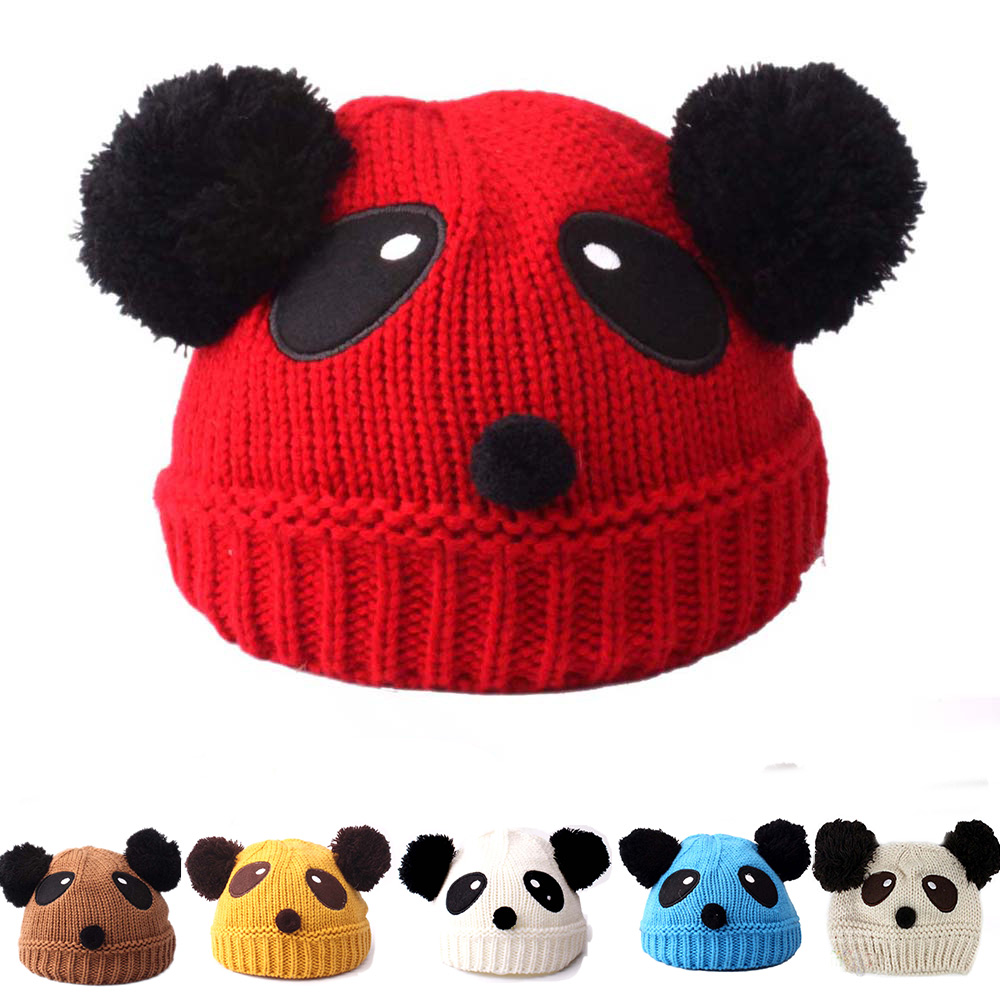 2e085319109 Details about Wool Knit Hat Autumn Winter Warm Panda Dual Hairball Cap For  Baby Kids Children