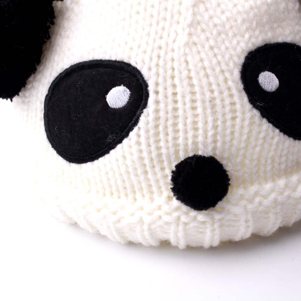 ccf56eb2f Details about Wool Knit Hat Autumn Winter Warm Panda Dual Hairball Cap For  Baby Kids Children