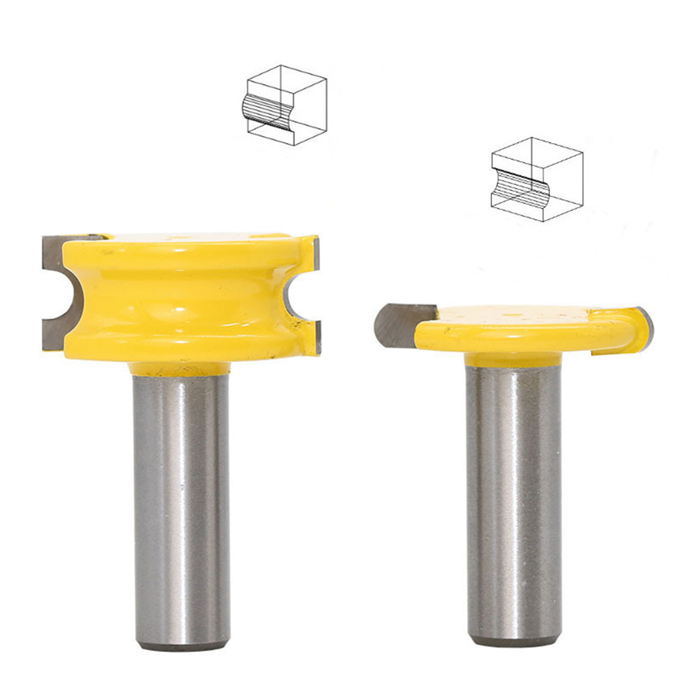 2pc 1/2inch Shank Round Arc T-shaped Router Bit Woodwork Cutter Tool