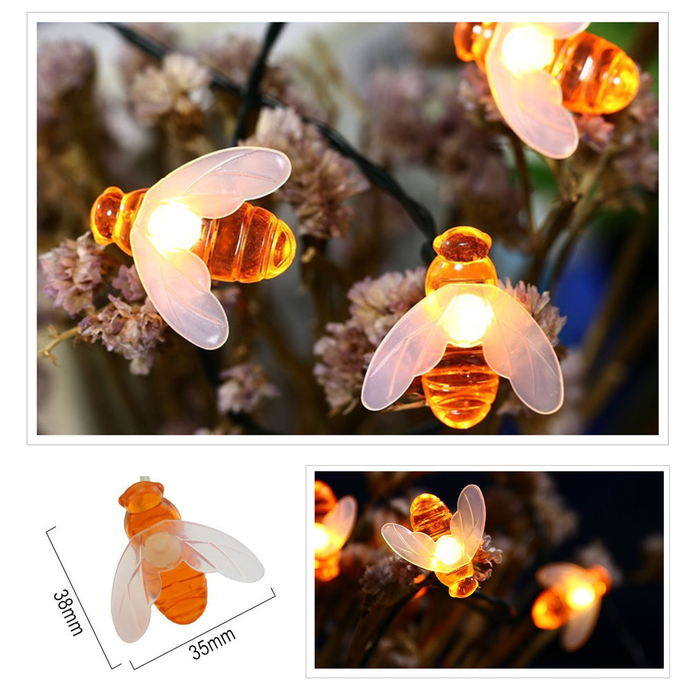 20Led Solar Honey Bee Light Strip Fairy Lamp String Garden Patio Decor