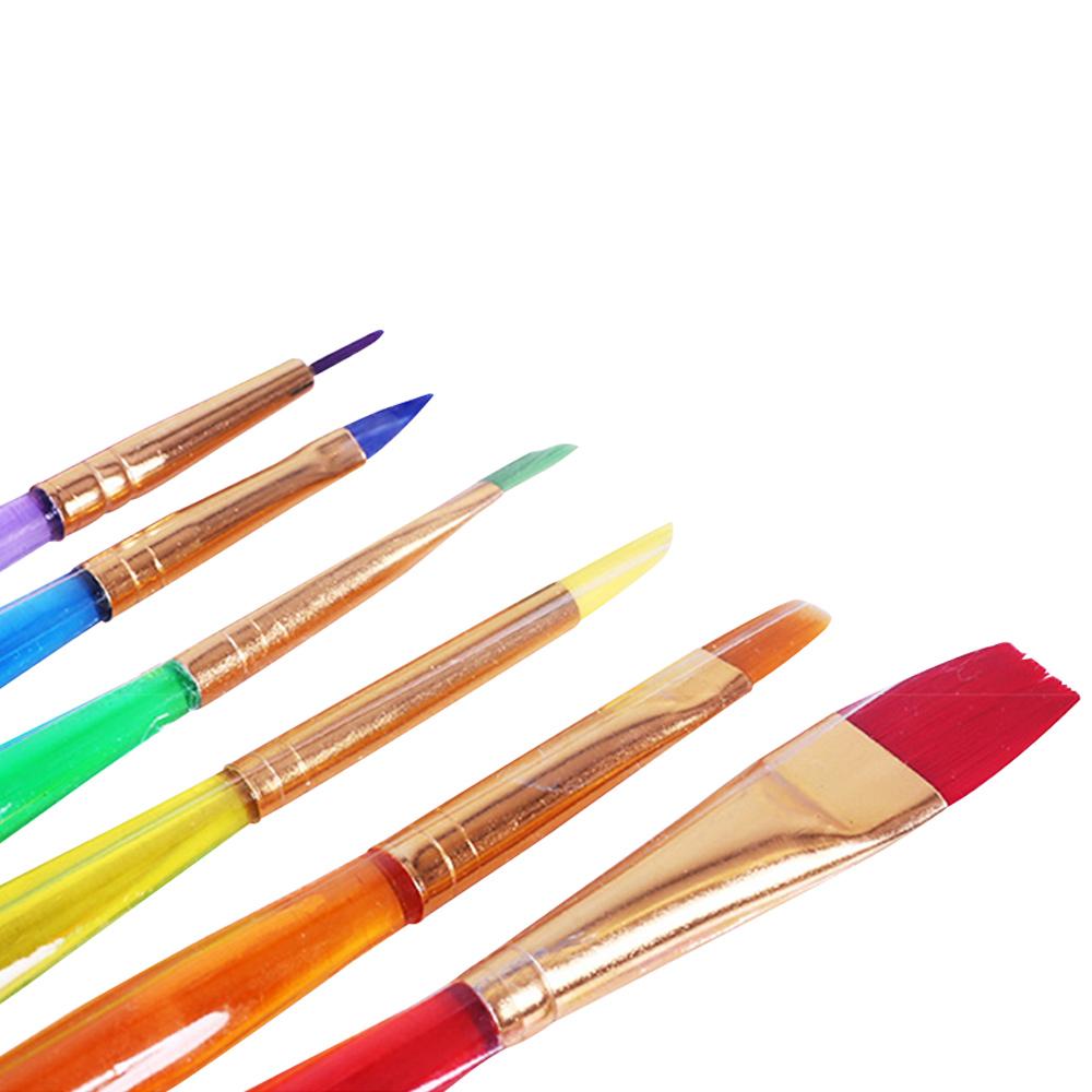 6pc/set Kids Children Candy Color Art Brush Watercolor Acrylic Oil Painting