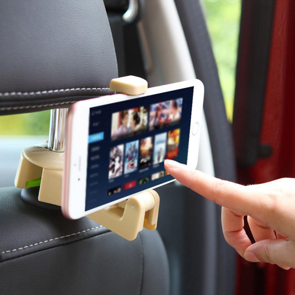 Wholesale 2in1 Multifunction Car Seat Back Headrest Hook Hanger W/Phone Holder Beige
