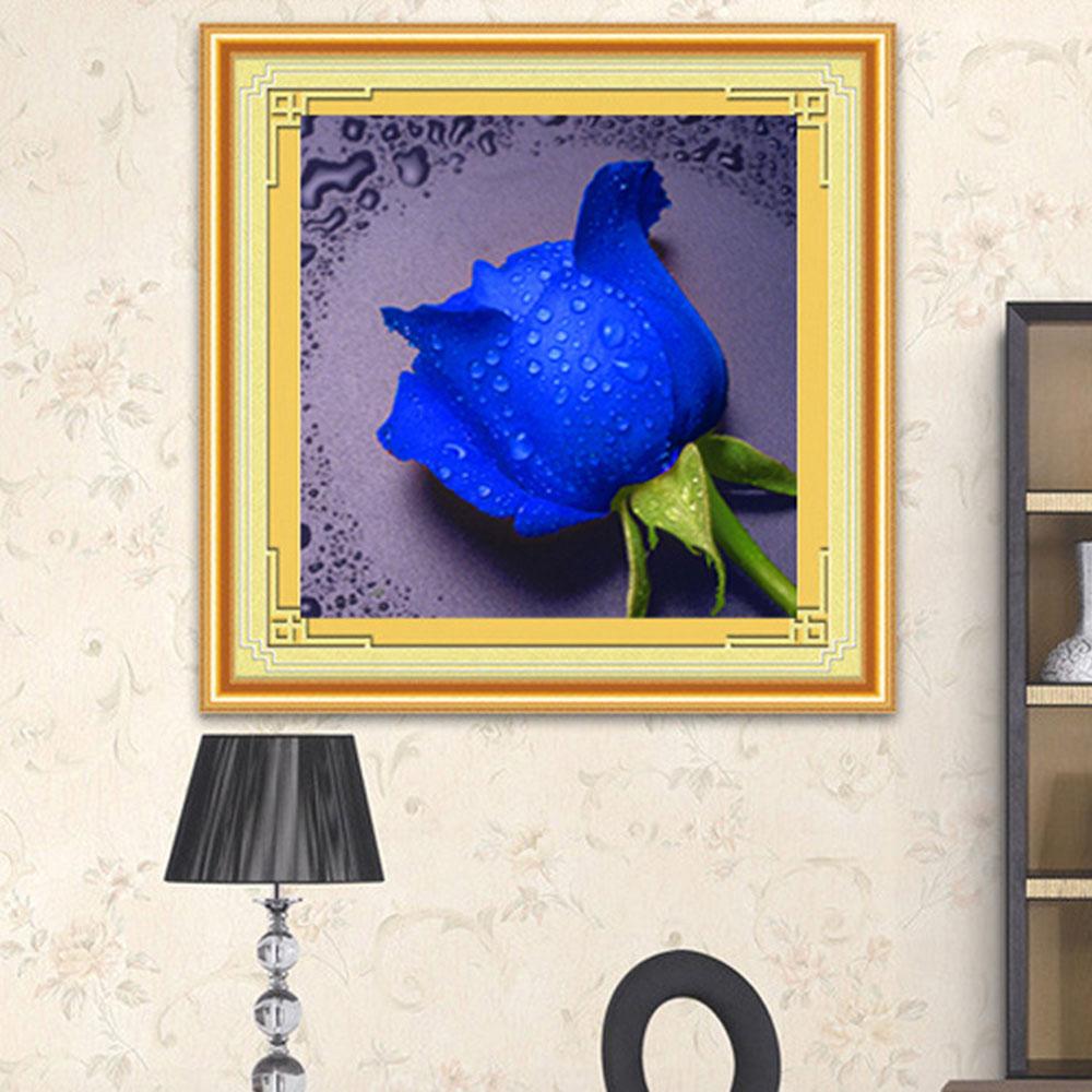 Wholesale 5D Diamond Rhinestone Painting DIY Waterdrop Rose Craft Crossstitch Blue
