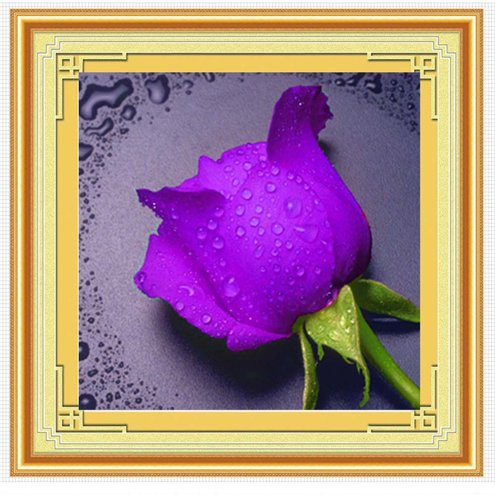 Wholesale 5D Diamond Rhinestone Painting DIY Waterdrop Rose Craft Crossstitch Purple