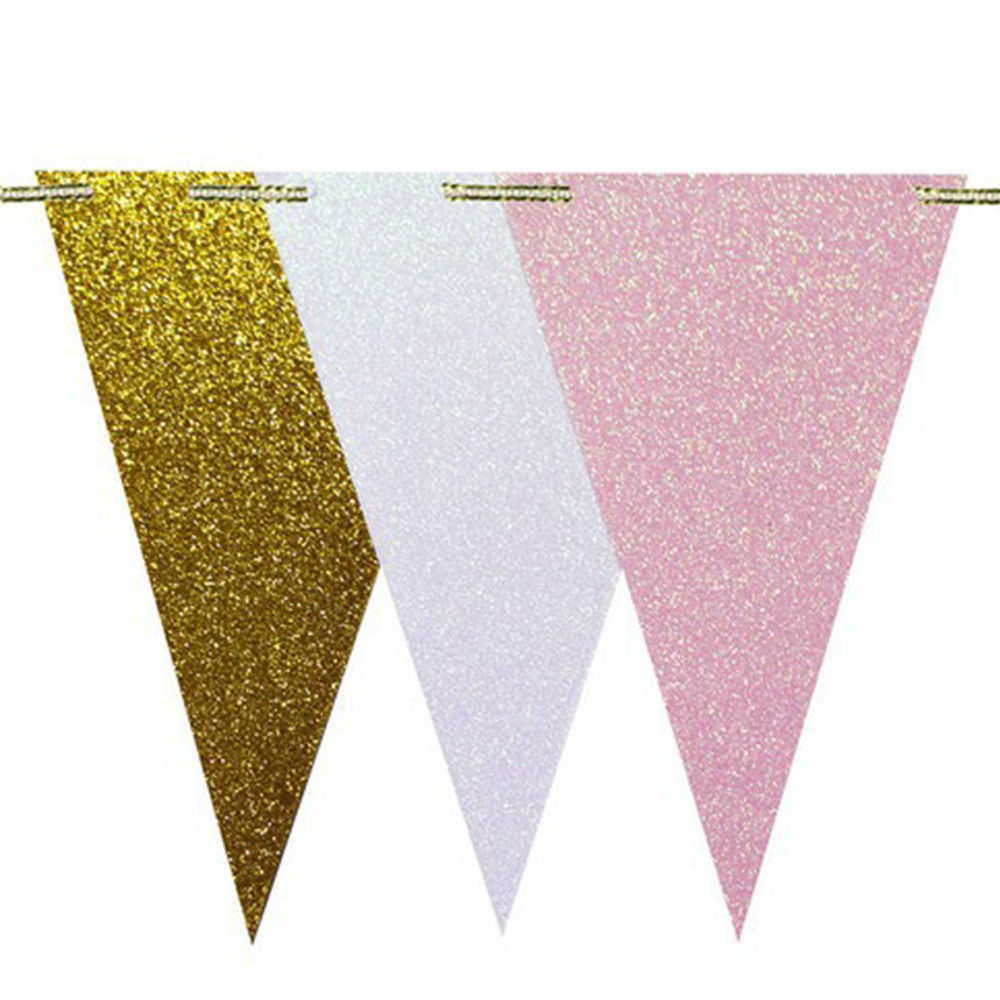 Double Side Glitter Triangle Flag Bunting Pennant Banner Wedding PartyDecor
