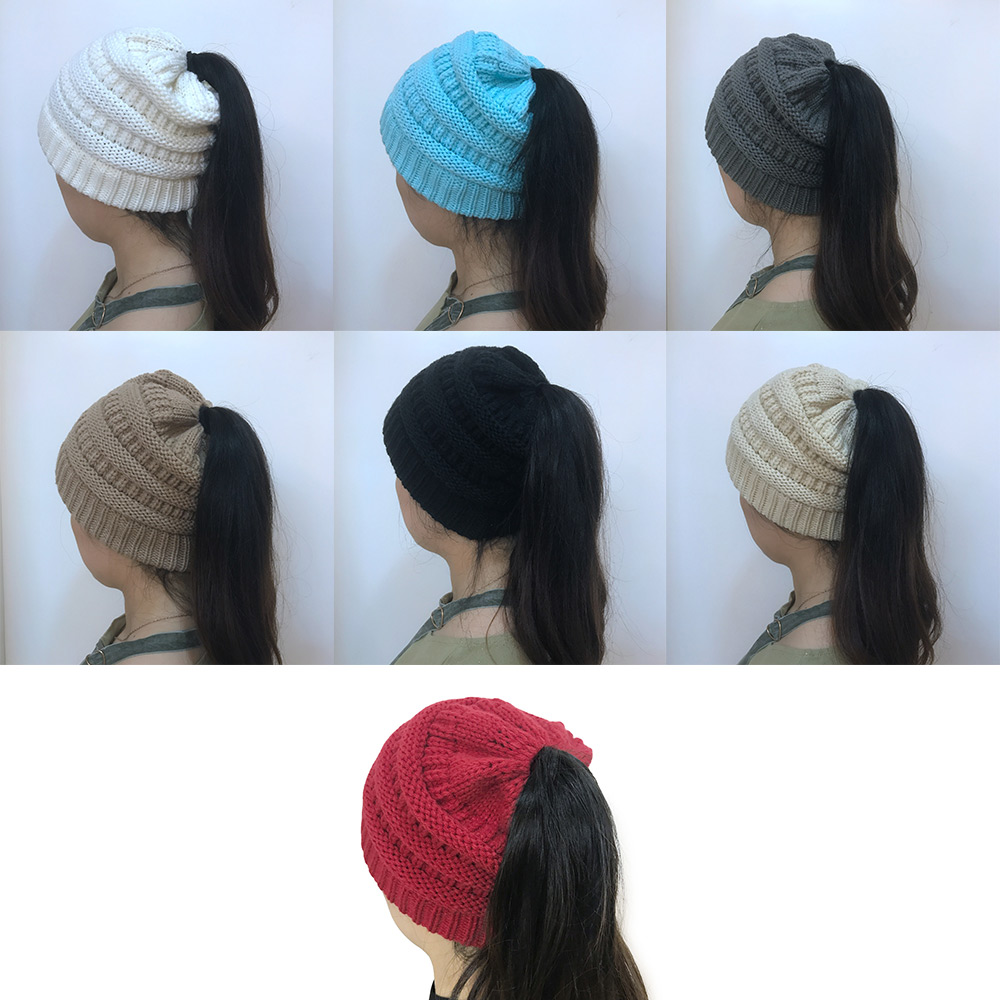 Unisex Fashion Ponytail Stretchy Soft Wool Knit Beanie Hedging Hat Warm Cap