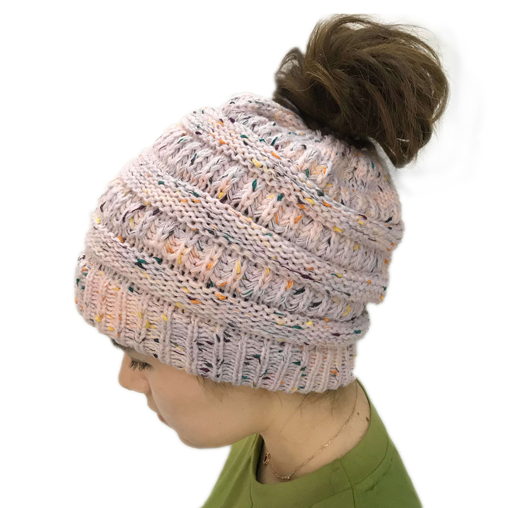 Mixed Color Ponytail Stretchy Soft Wool Knit Beanie Hedging Hat Warm Cap