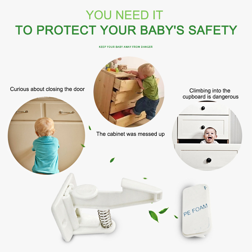 10pcs Spring Safety Invisible Cupboard Lock Baby Child Pet Proof Drawer Security 11
