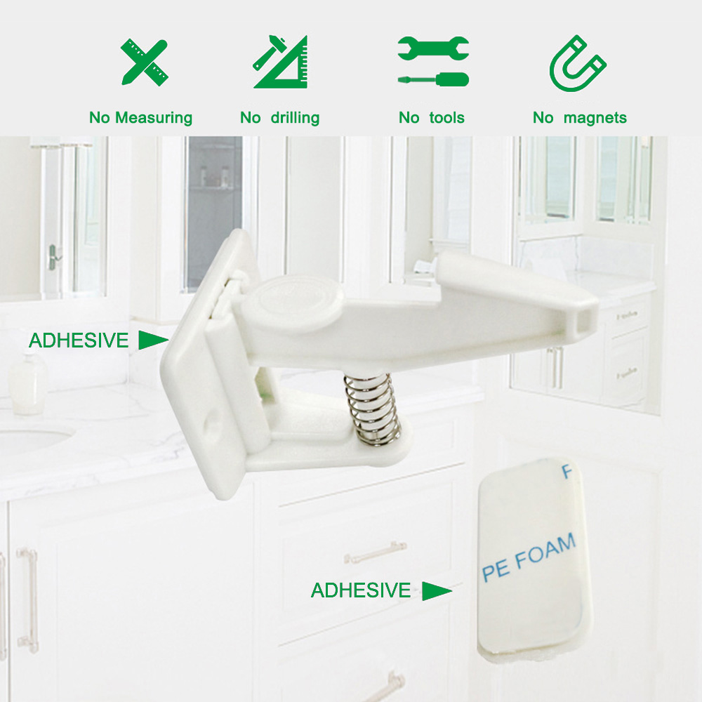 10pcs Spring Safety Invisible Cupboard Lock Baby Child Pet Proof Drawer Security 10