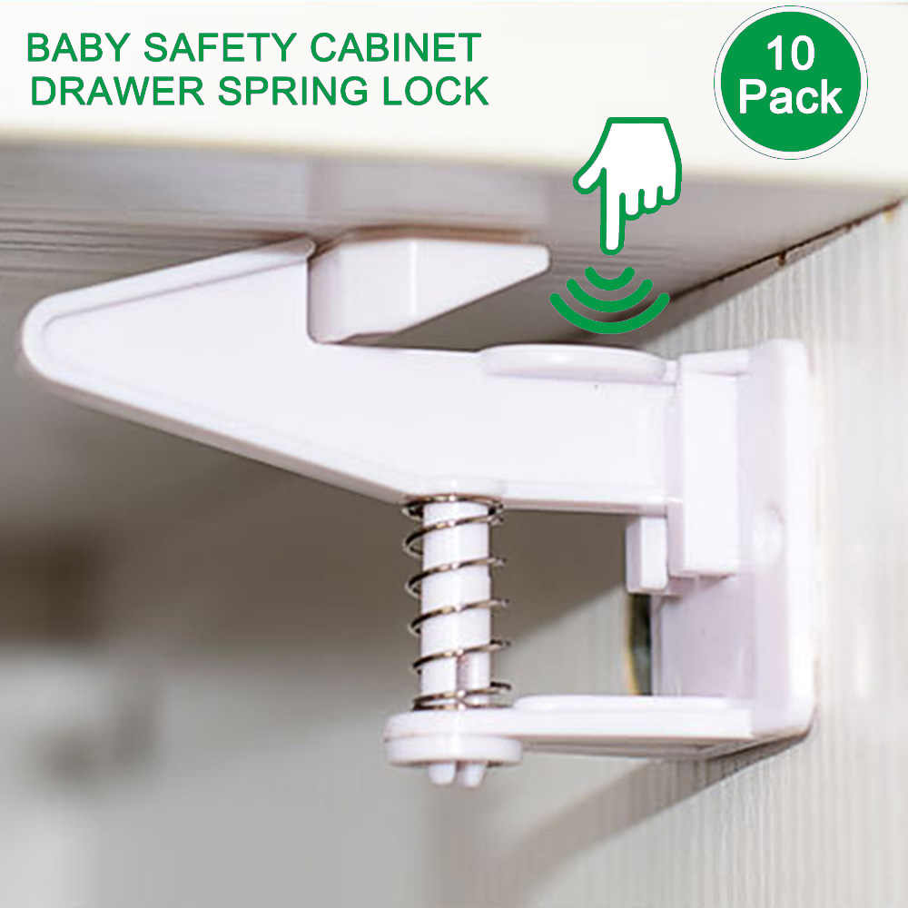 10pcs Spring Safety Invisible Cupboard Lock Baby Child Pet Proof Drawer Security 3