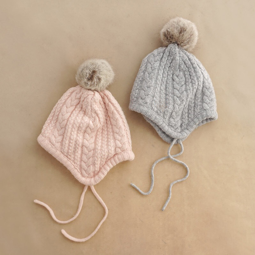 Baby Toddler Newborn Wool KnitAutumn Winter Earflap Hairball Twist Hat Cap