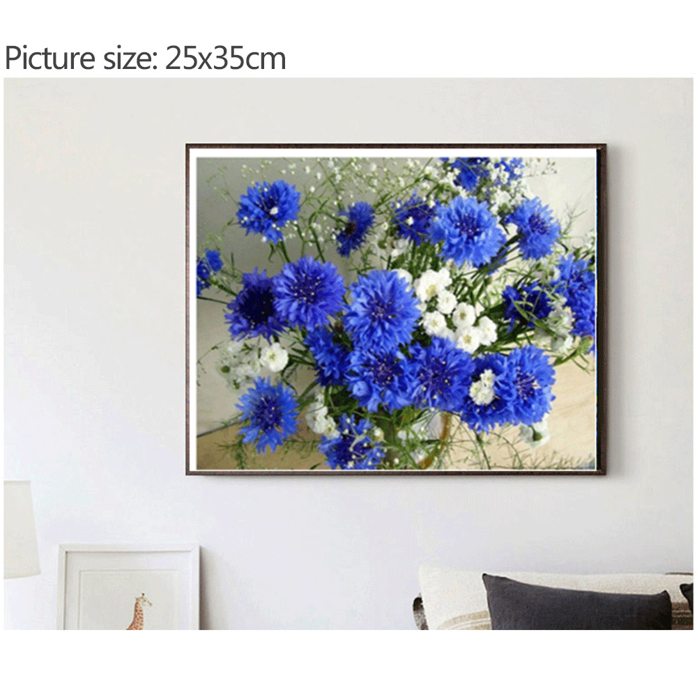 Diamond Rhinestone Painting DIY BlueFlower Art Craft Embroidery CrossStitch