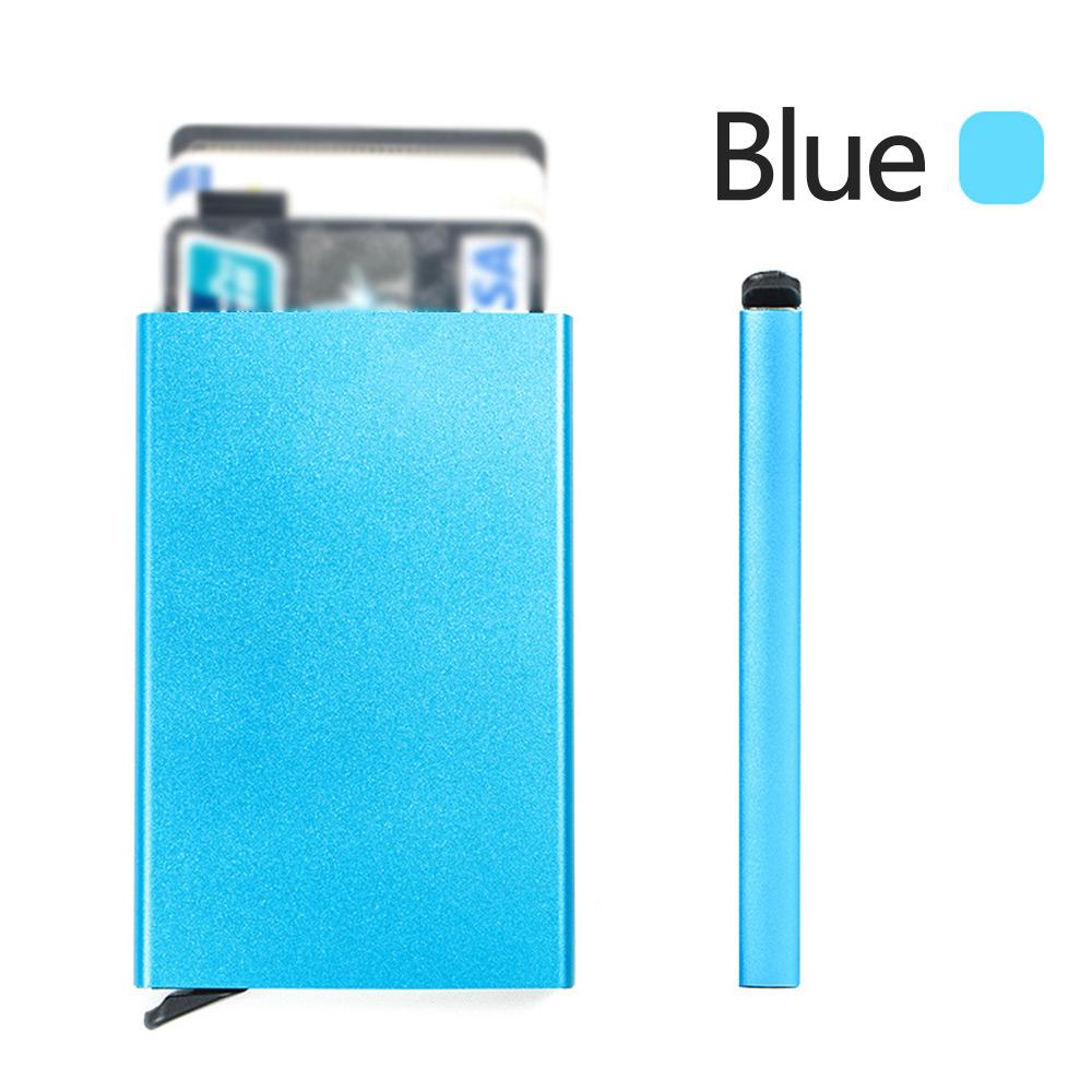 Wholesale Portable Aluminum Auto Pop-up Credit ID Card Passport Wallet Bag Case Blue