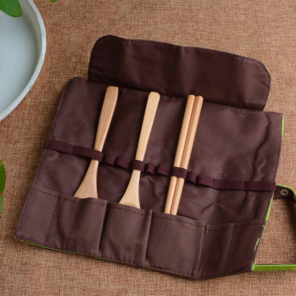 Portable Wooden Spoon Fork Chopsticks Tableware Flatware Utensil W/Pouch