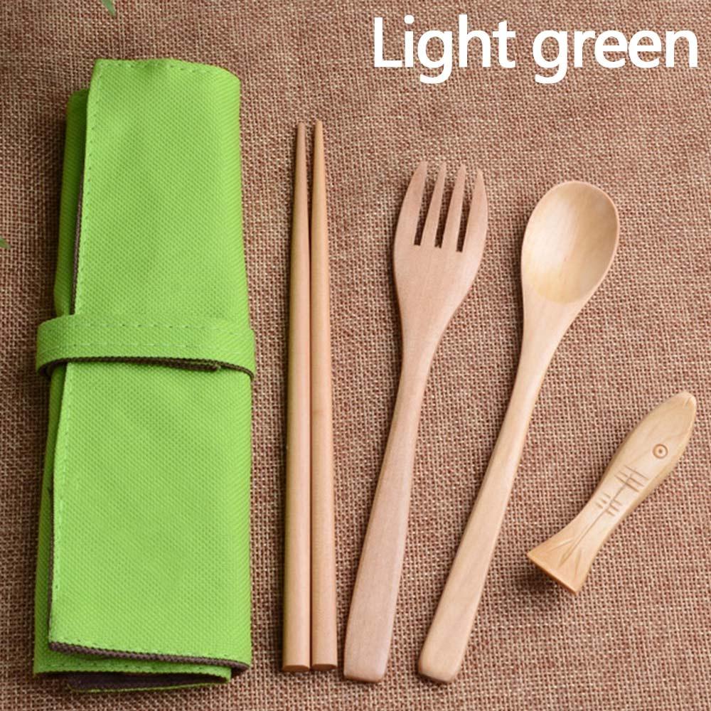 Wholesale Portable Wooden Spoon Fork Chopsticks TablewareFlatware W/Pouch Light Green