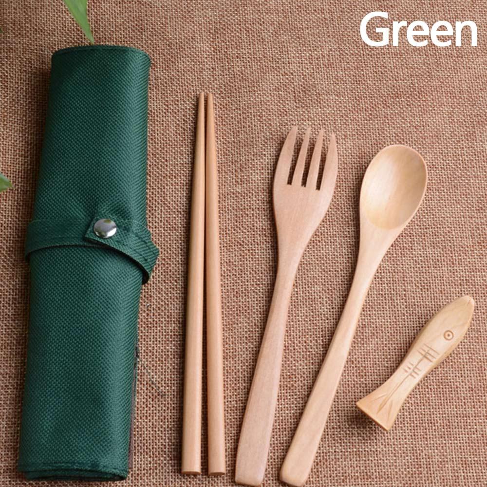 Wholesale Portable Wooden Spoon Fork Chopsticks Tableware Flatware W/Pouch Green