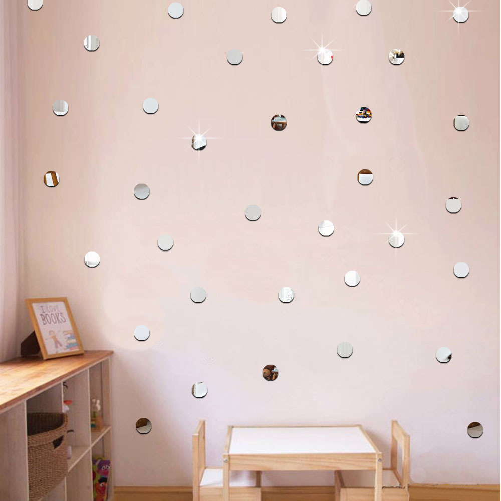 50pc 5cm Round 3D Mirror Wall Sticker For Ceiling Living Room Decal Decor