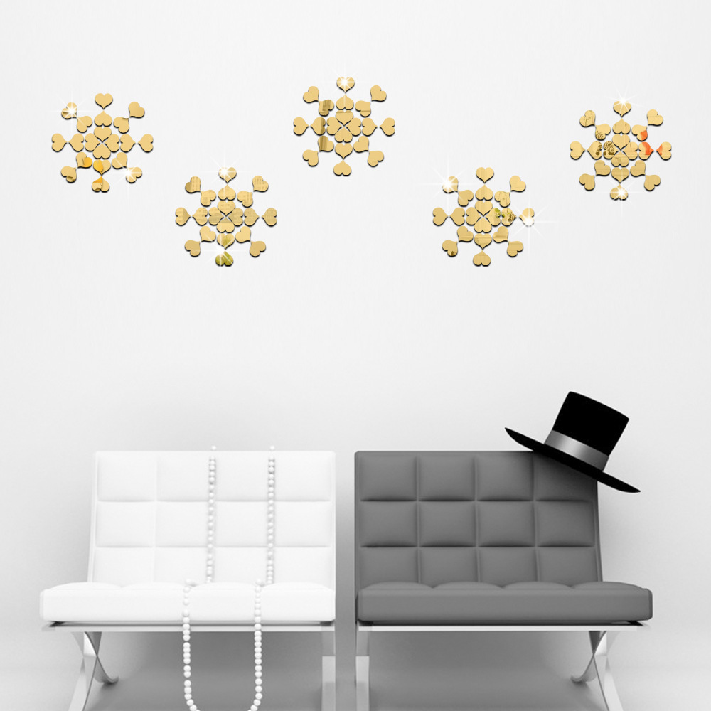 100pc Heart Shape 3D Mirror Wall Sticker For Ceiling Living Room DecalDecor