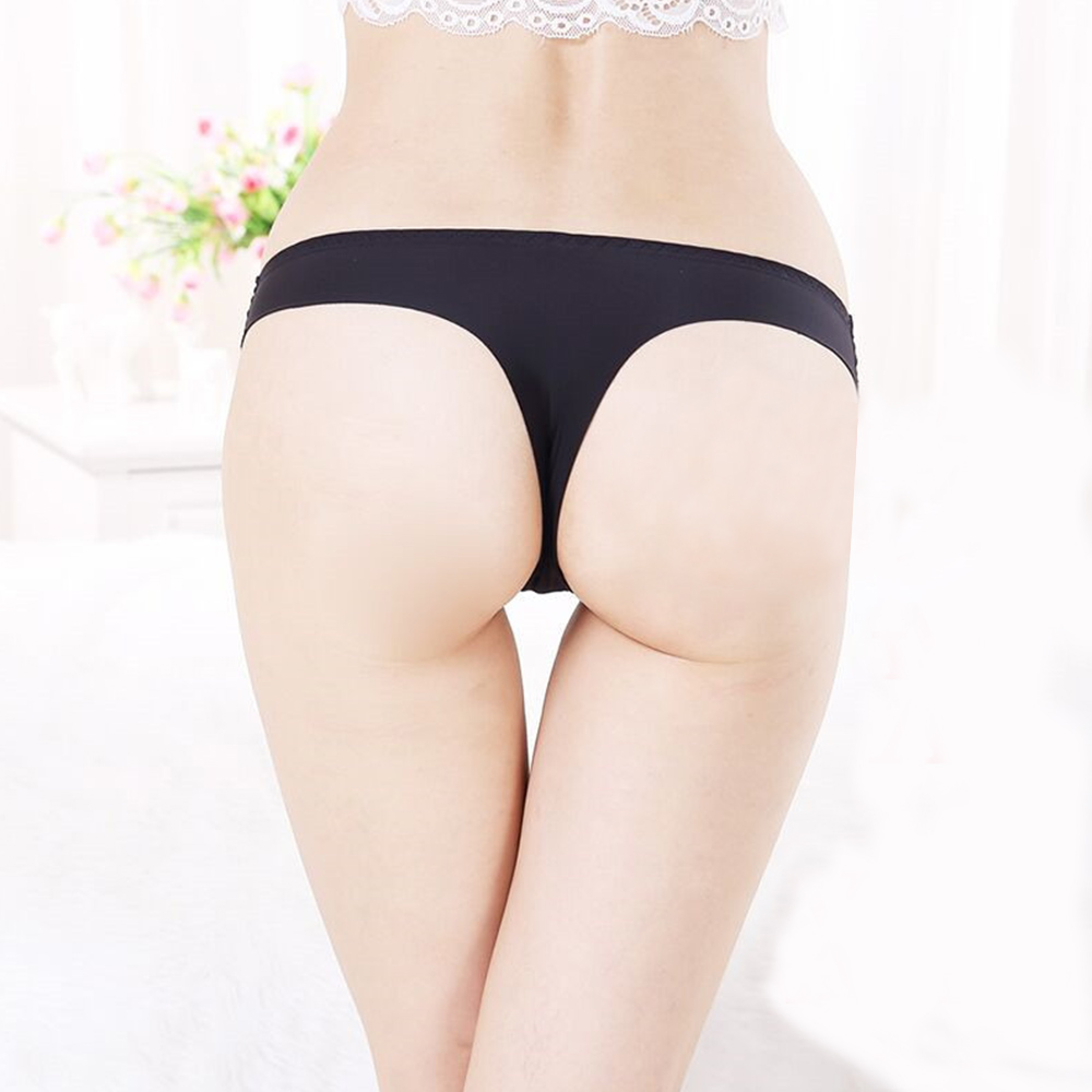 Women Plus Size Ice Silk Seamless Underwear Low Waist Thong Briefs Knickers