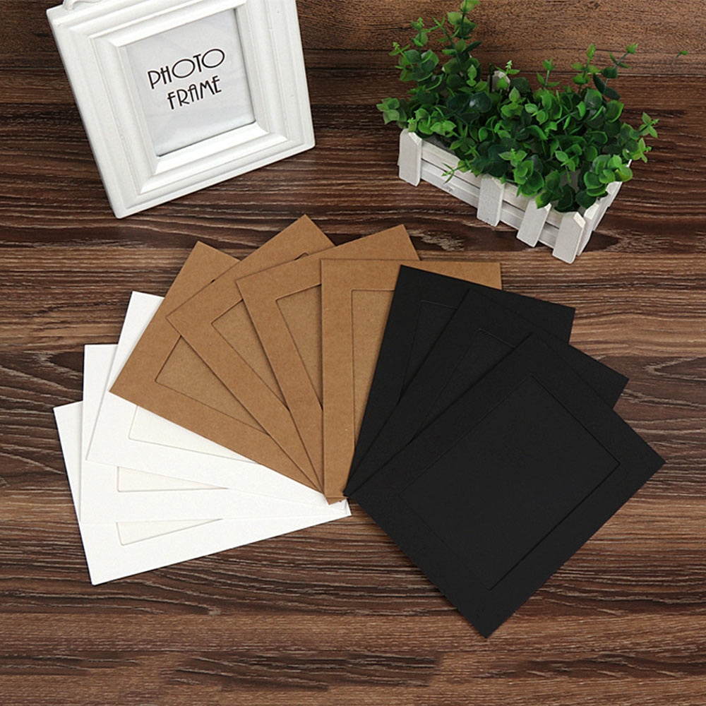 10pcs Cardboard Paper Picture Frame 5/6Inch DIY Photo Frame W/Clip String