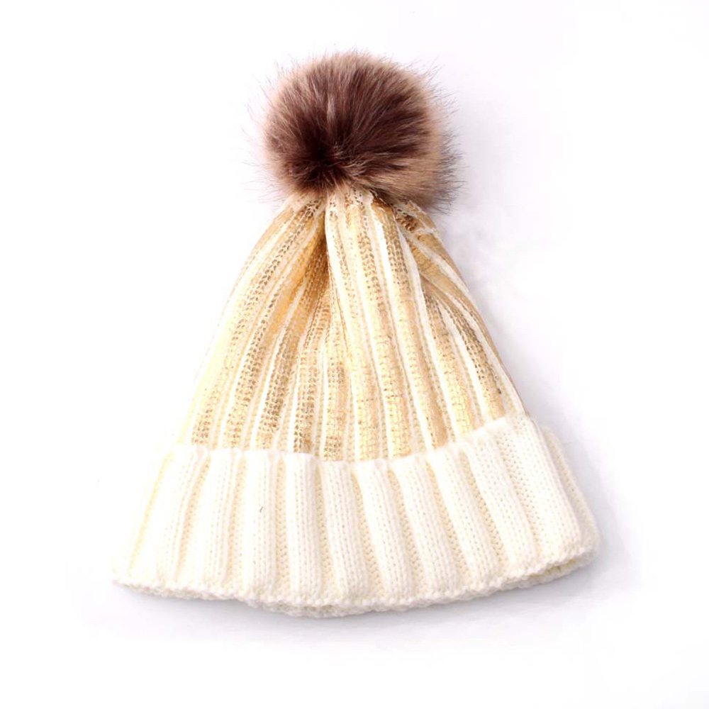 Autumn Winter Adult Wool Silver Bronzing Knit Hairball Pompom Cap Hat