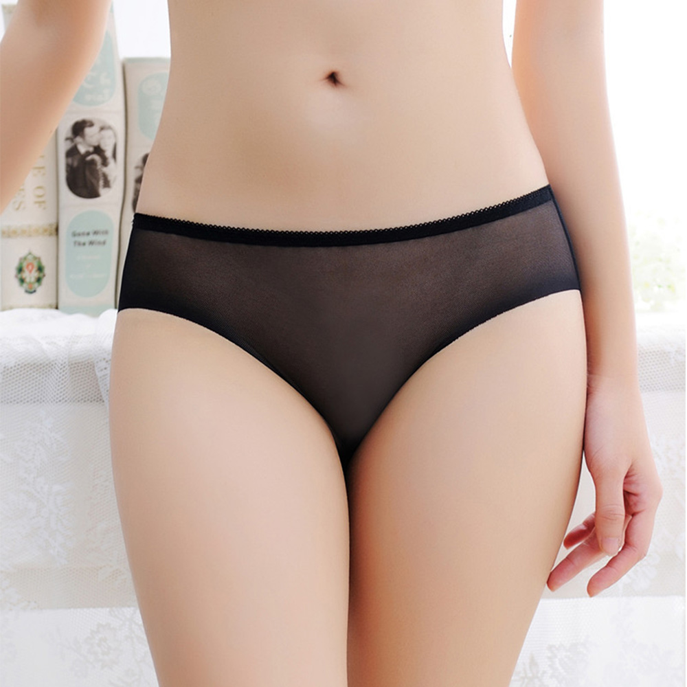 Women Sexy Low Waist Breathable Solid Transparent UnderwearTraceless Briefs