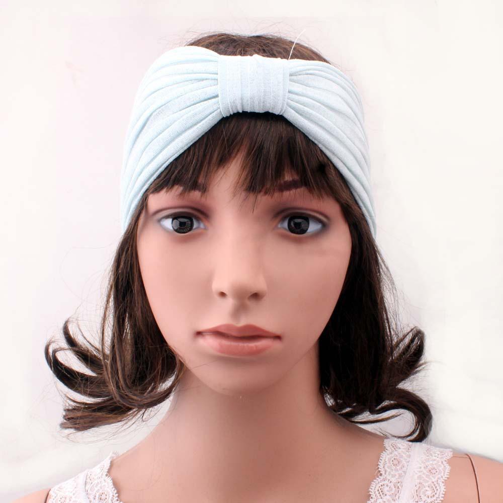 Wholesale Women Solid Elastic Headband Hairband Sports Yoga Bowknot Headwrap Blue