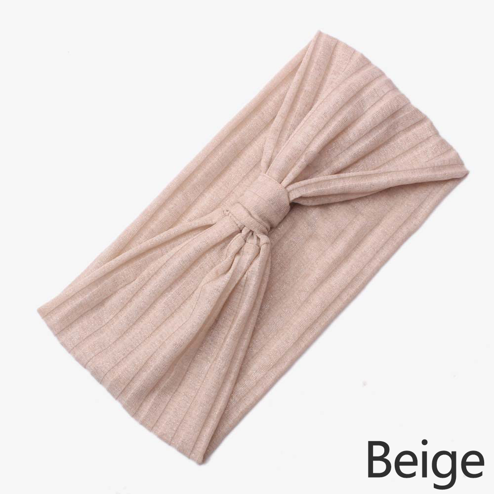 Wholesale Women Solid Elastic Headband Hairband Sports Yoga Bowknot Headwrap Beige