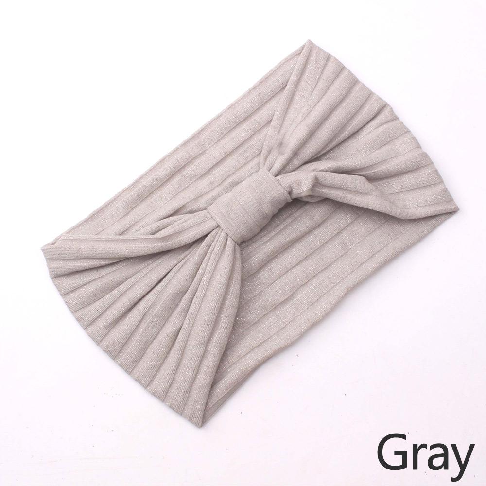 Wholesale Women Solid Elastic Headband Hairband Sports Yoga Bowknot Headwrap Gray