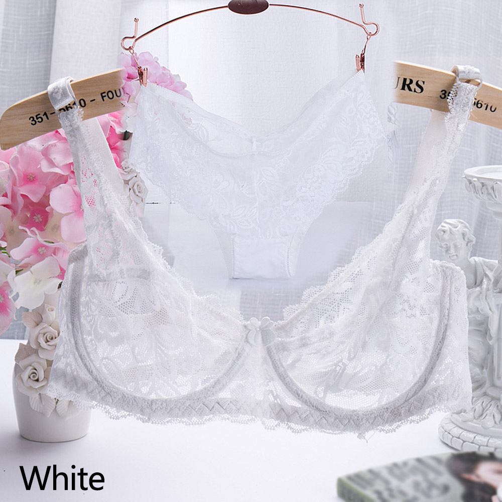 Wholesale Women Underwire Transparent Sexy Ultrathin Lace Bra Underwear Lingerie Set