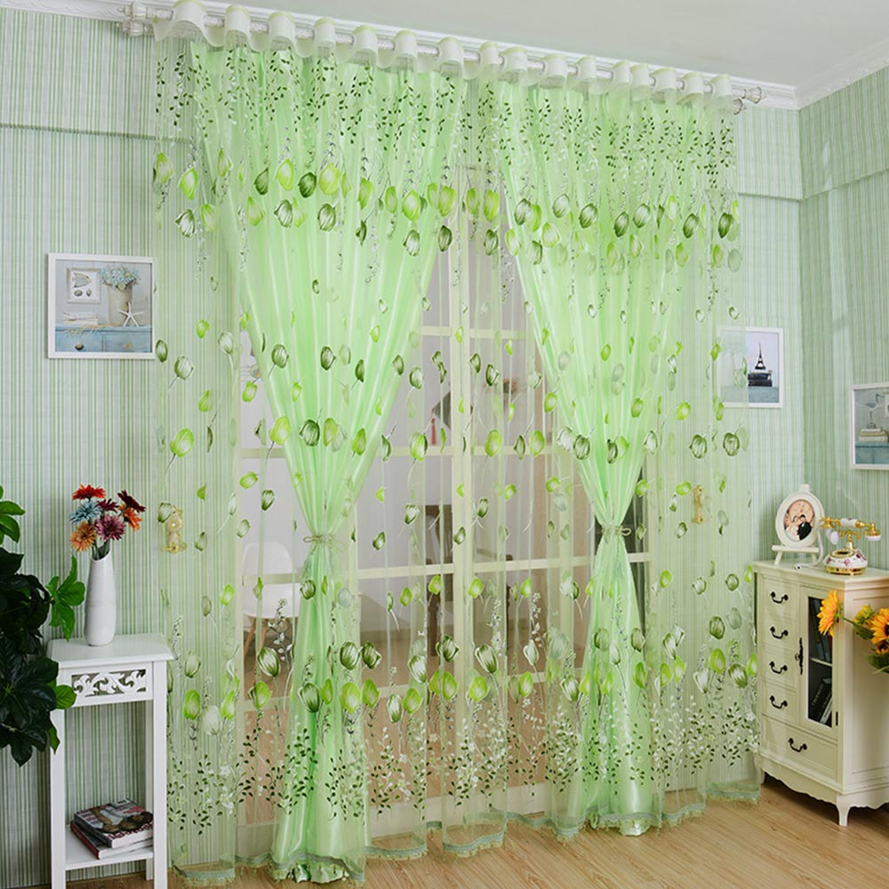 Romantic Tulip Print Voile Tulle Yarn Curtain Living Room Balcony Decor