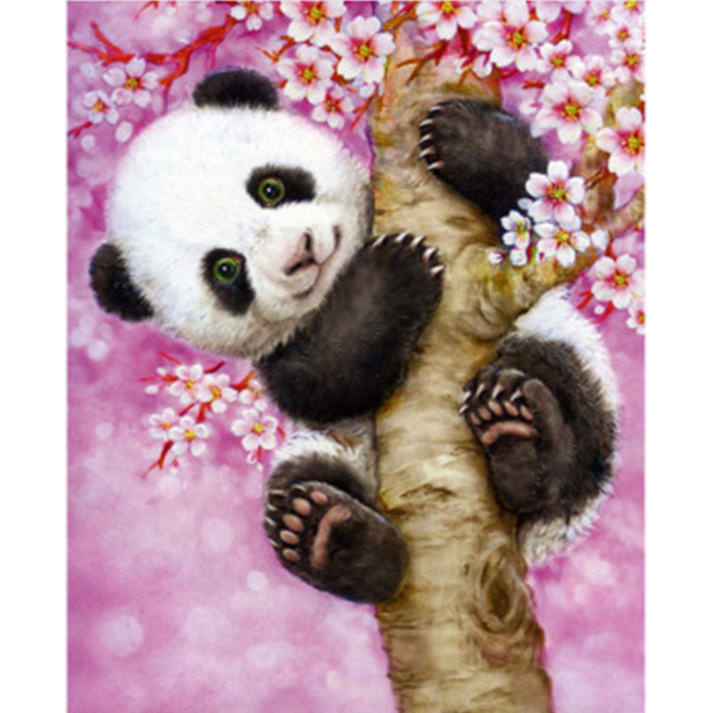 5D Diamond Rhinestone Painting Panda Climbing Tree Embroidery Cross Stitch