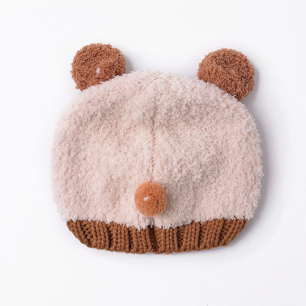 Kids Winter Scarf Hat Set Soft Warm Bear Beanie Knit Cap Neck Warmer