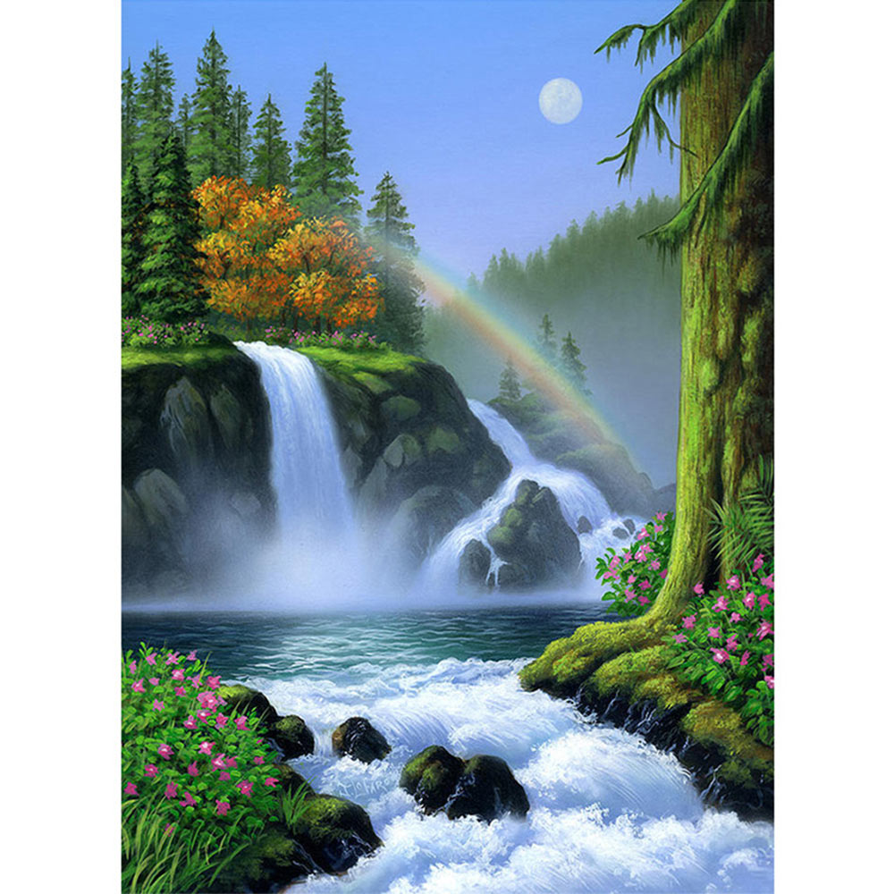 5D Full Diamond RhinestonePainting Waterfall SceneryEmbroidery Cross Stitch