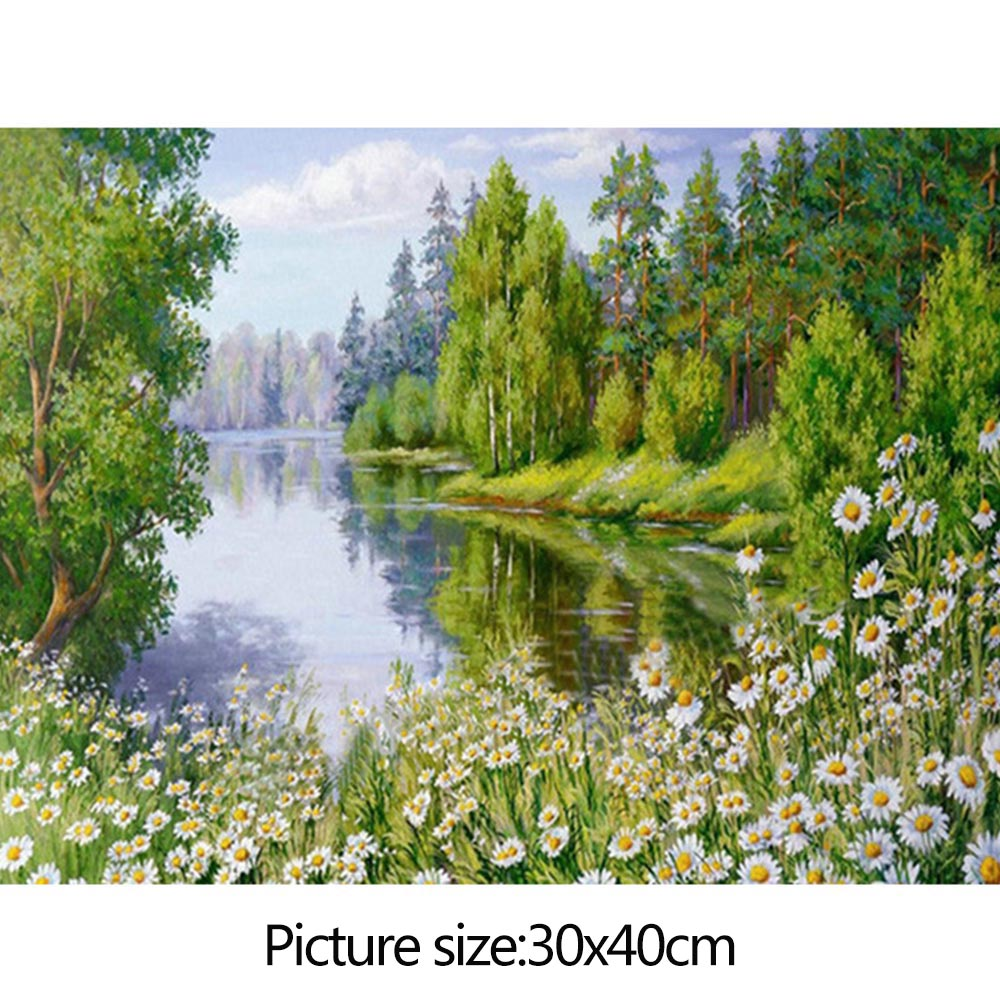 Wholesale Full Diamond RhinestonePainting NatureScenery EmbroideryCross Stitch30x40cm