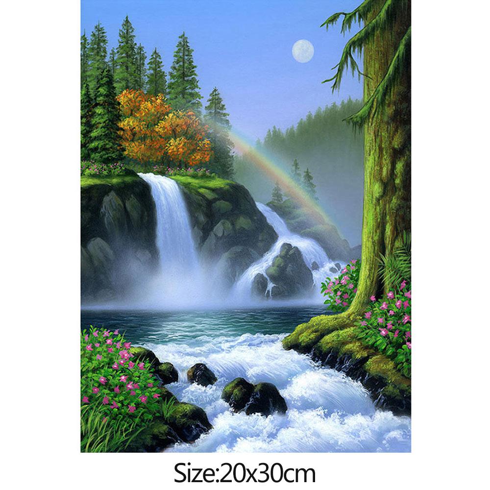 Wholesale 5D Diamond RhinestonePicture WaterfallSceneryEmbroideryCross Stitch 20x30cm