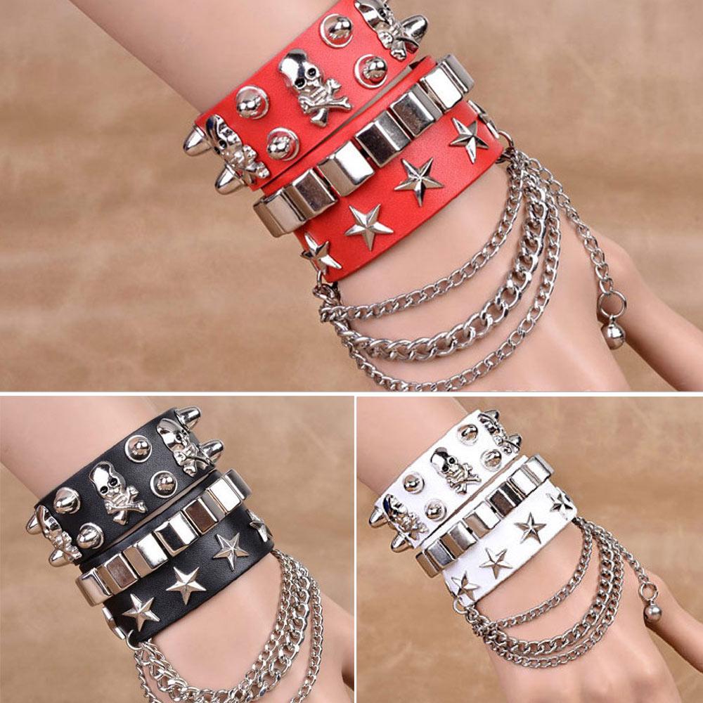 Gothic Skull Punk Bracelet Rivet Leather Cuff Bangle W/Adjustable Button